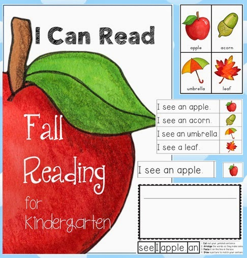 Fall Reading Centers including vocabulary cards for Kindergarten