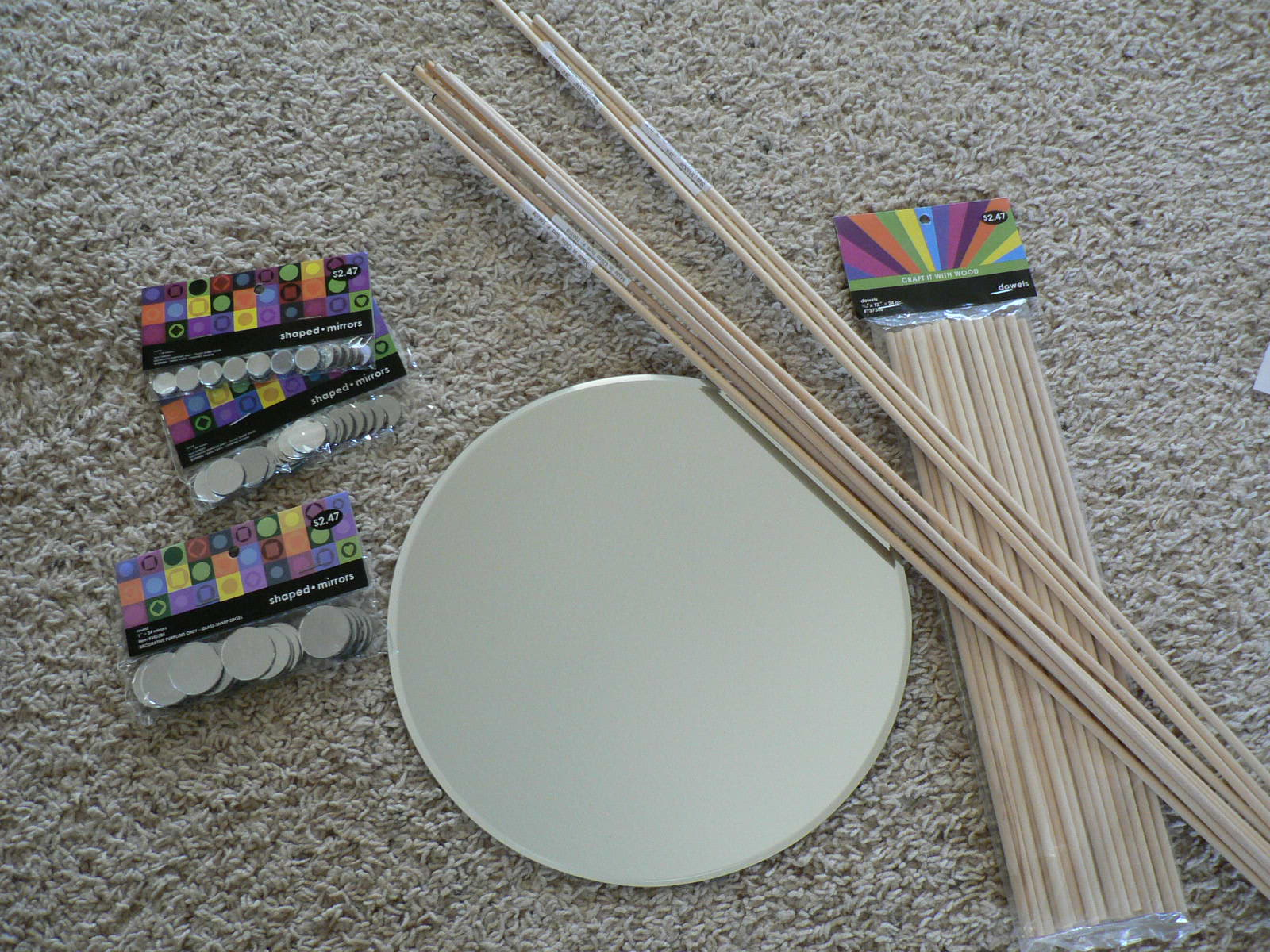The creative chickadee diy starburst mirror for Different sized mirrors