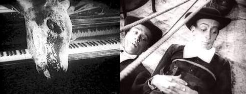 Un fotograma con los dos frailes y otro con un burro podrido sobre un piano