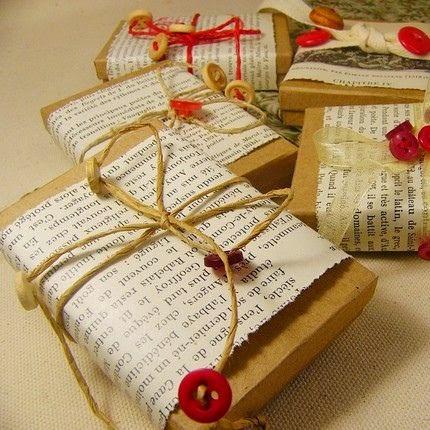 repurposed paper DIY gift wrap