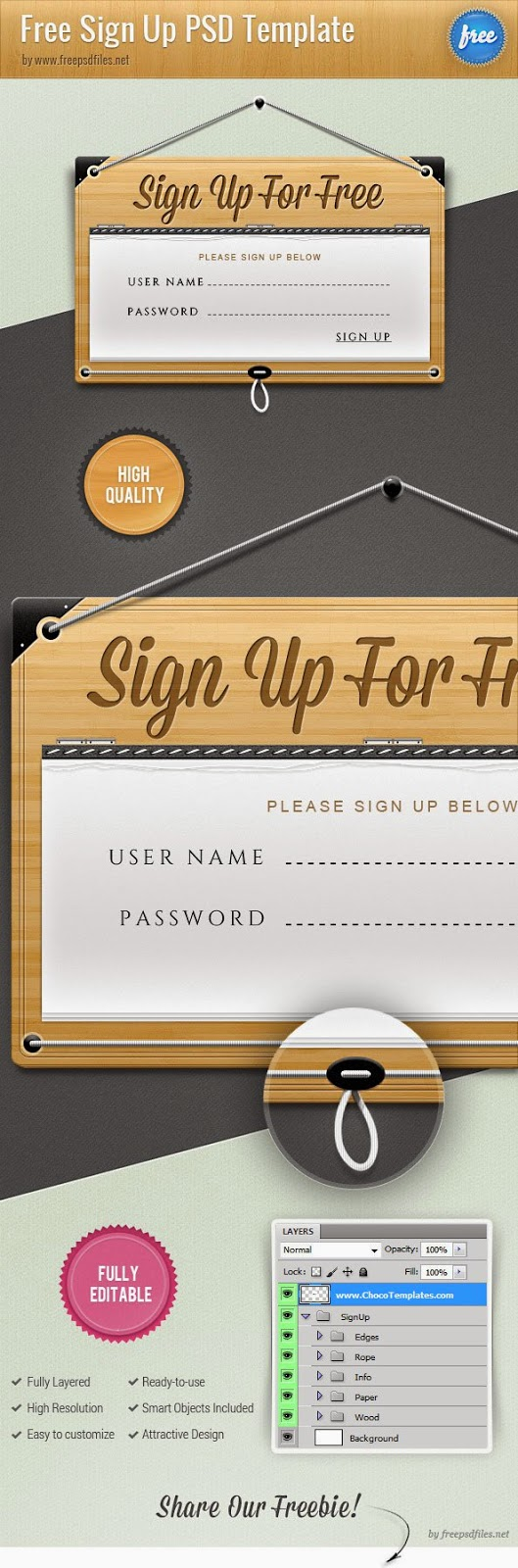 Sign Up Form Template PSD