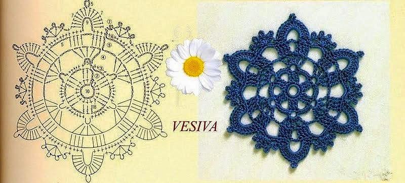 Aplique o granny con forma floral tejido al crochet