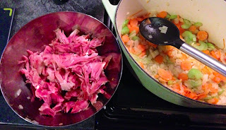 Shredded ham hock and the soup base
