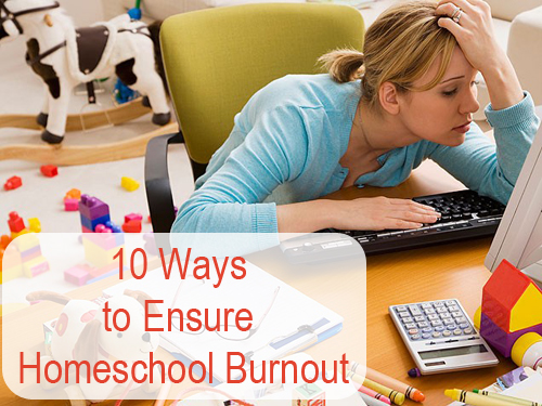 A tongue-in-check post offering steps on how to achieve (avoid) homeschool burnout.