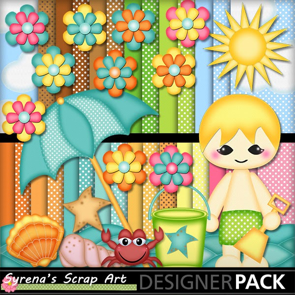beach baby boy digital scrapbook kit