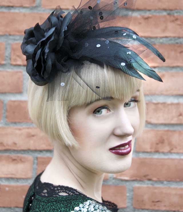 Pearls and Swine, fascinator, black rose, gothic