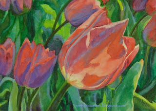 """Radiant One"" 5""x 7"" watercolor on Aquabord ©2015 Tina M Welter, Lavender and pink tulips at the botanic garden, Wellington, New Zealand"