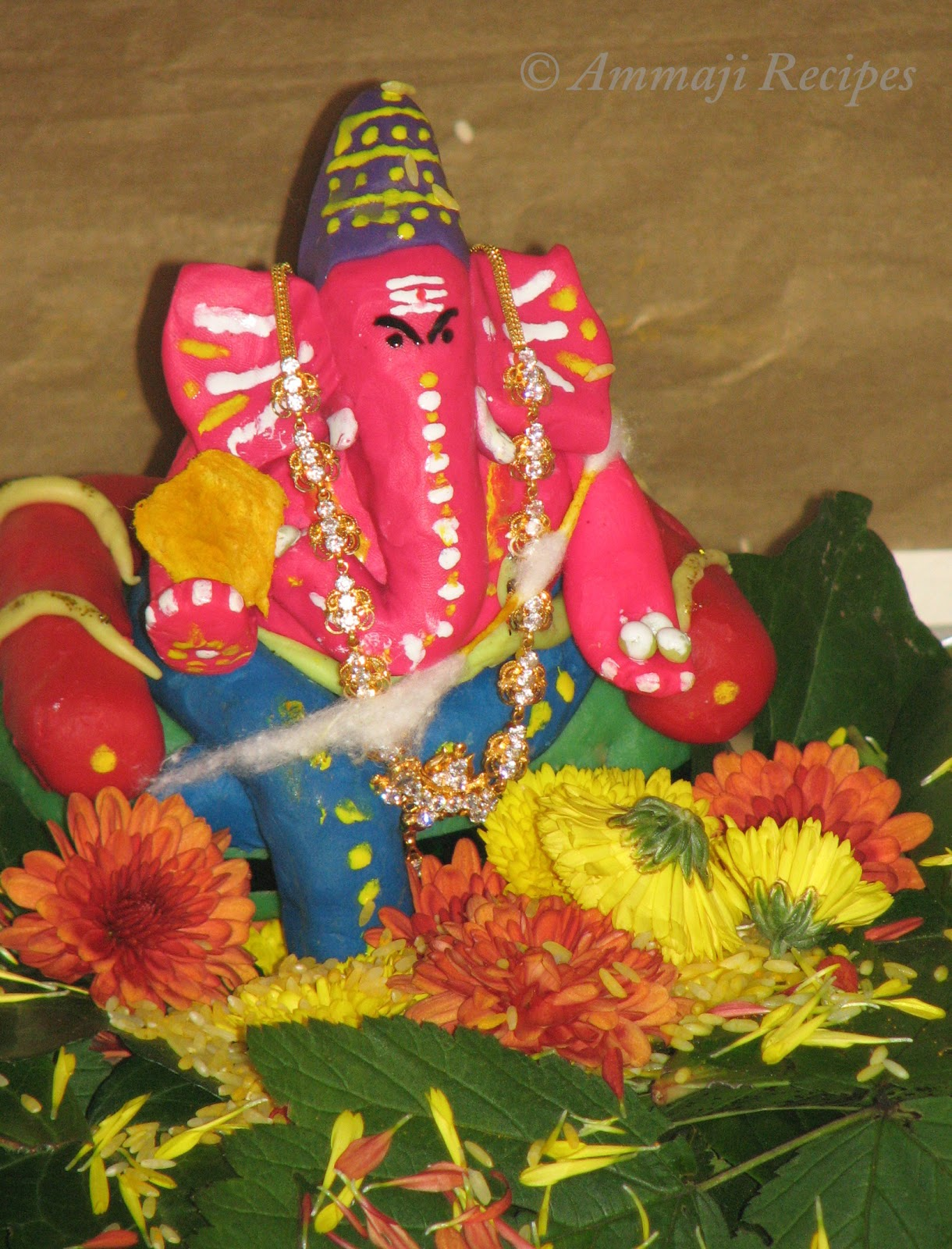 Ganesh chaturthi flowers may flower blog - Here Is Usa We Do Nimarjanam Sea Which Is Very Near To Us The Turmeric Ganesha Is Made To A Paste And Is Applied To Kids Books Laptops