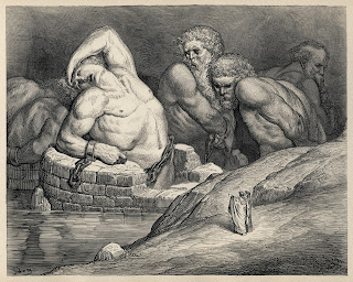 Titans and giants, including Ephialtes on the left, in Gustave Doré's illustrations to Dante's Divine Comedy.