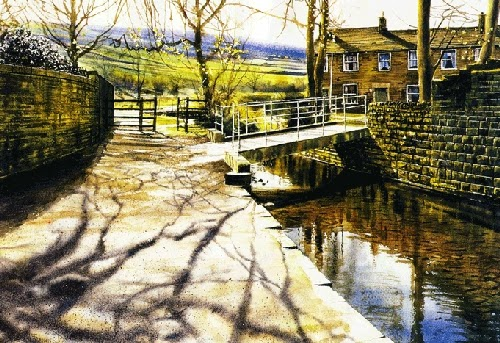 19-Upper-Mill-Delph-Joe-Francis-Dowden-Photo-Realistic-Watercolour-Paintings-www-designstack-co
