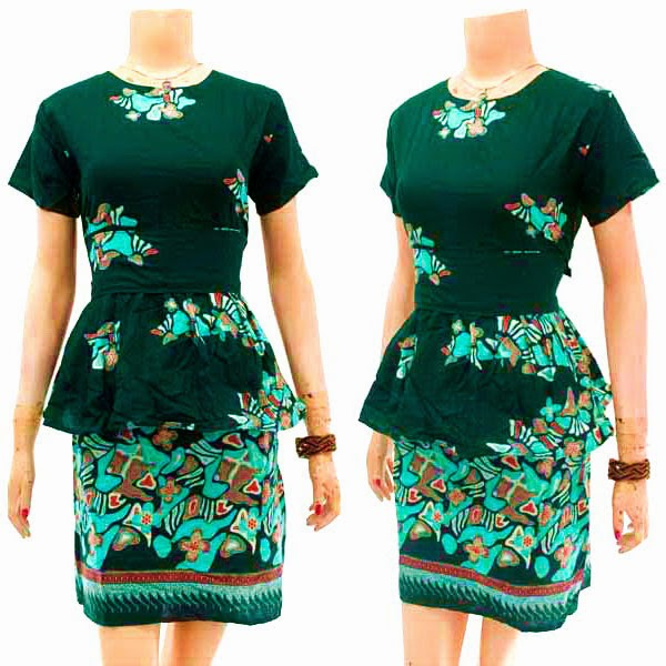 DB3777 Model Baju Dress Batik Modern Terbaru 2014