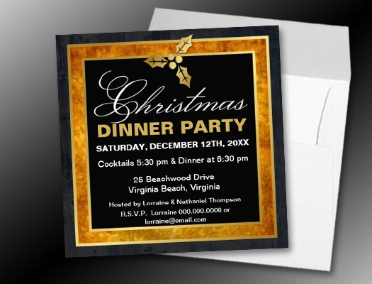 Elegant Christmas Golden Holly Invitations