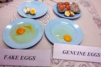 telur palsu dan asli