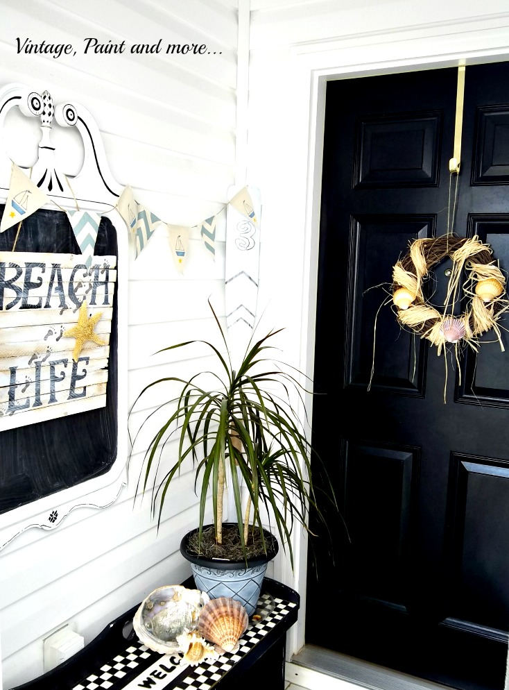 Vintage, Paint and more... wood beach life sign, shell wreath, stenciled boat oar, nautical banner, chalkboard from mirror