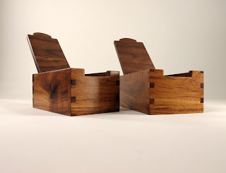 Pair of small boxes of reclaimed black walnut