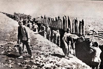 Soldados cavando la Zanja Alsina, esclarecedora ilustración sin datos del autor, tomada de geohistoricos.blogspot.com.ar