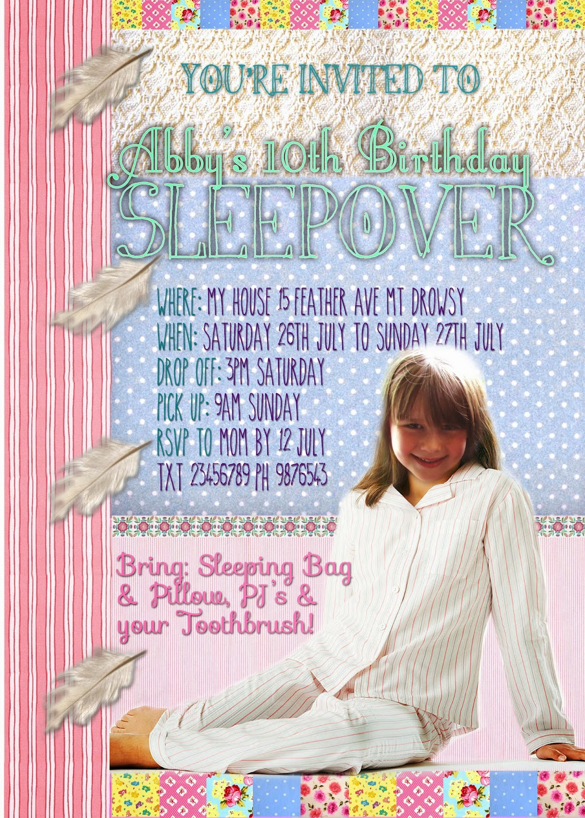 Pastel Pyjama/Sleepover Party Personalized Invitation