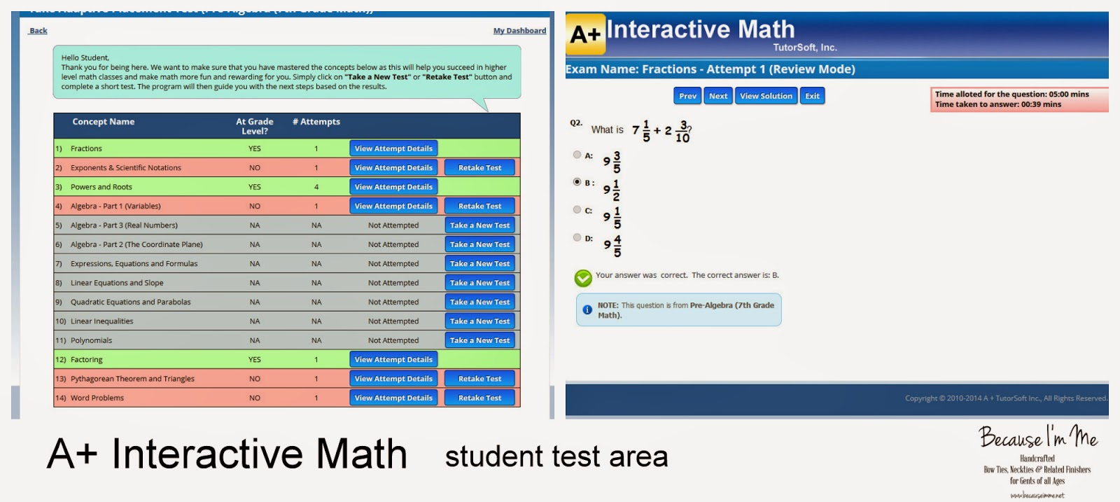 A+ Interactive Math student test area