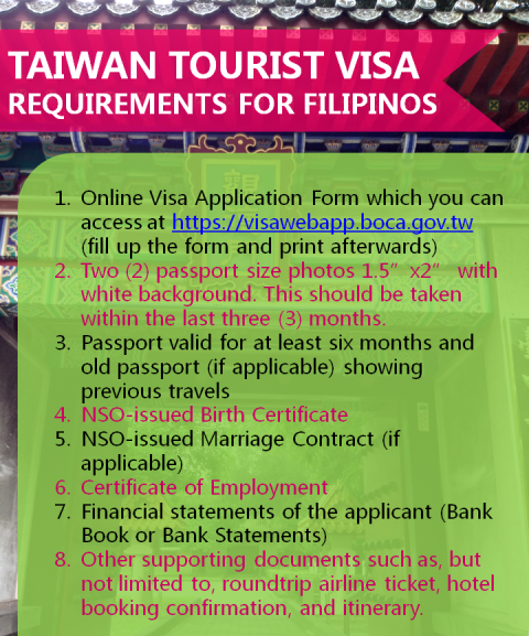 Taiwan Tourist Visa Application Guide for Filipinos requirements