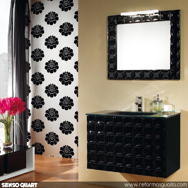mueble baño negro alto brillo senso quart diseño textura