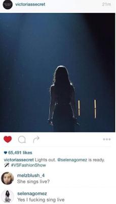 Selena Gomez envía un mensaje a los que la acusan de playback en el Victoria's Secret Fashion Show.