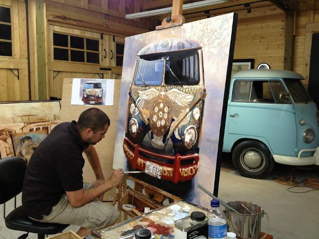 Santiago Michalek Fine Art Woodstock Bus Painting