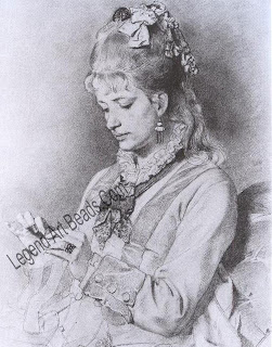 Two portrait drawings by Frederick Goodall of his wife Alice (1874). On the left she is wearing a heavy festoon necklace of Egyptian inspiration, and two wide bracelets, one in the archaeological revival style and the other a stiff bangle with a square central motif In the other she wears a brooch with earrings en suite in the Assyrian taste.