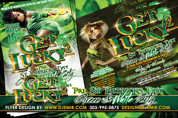 Get Lucky 2 St. Patrick's Day Green and White Party Flyer Design