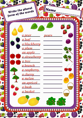 fruit and berries plural form grammar worksheet