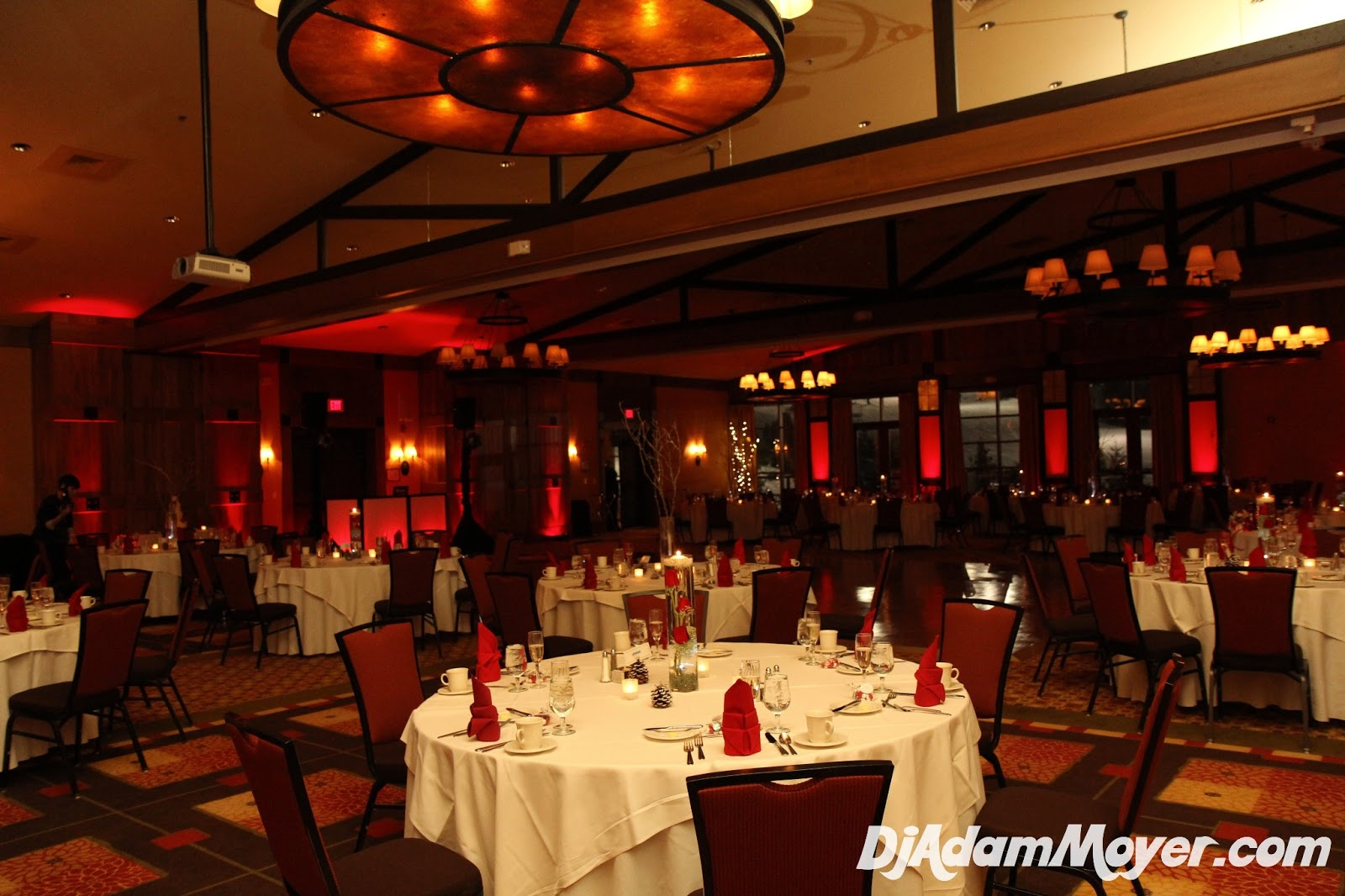 Melissa Jon S Special Day Began With A Short Ceremony In Portion Of The Mountain Ballroom I Provided Red Led Uplighting Highlighting Their Wedding