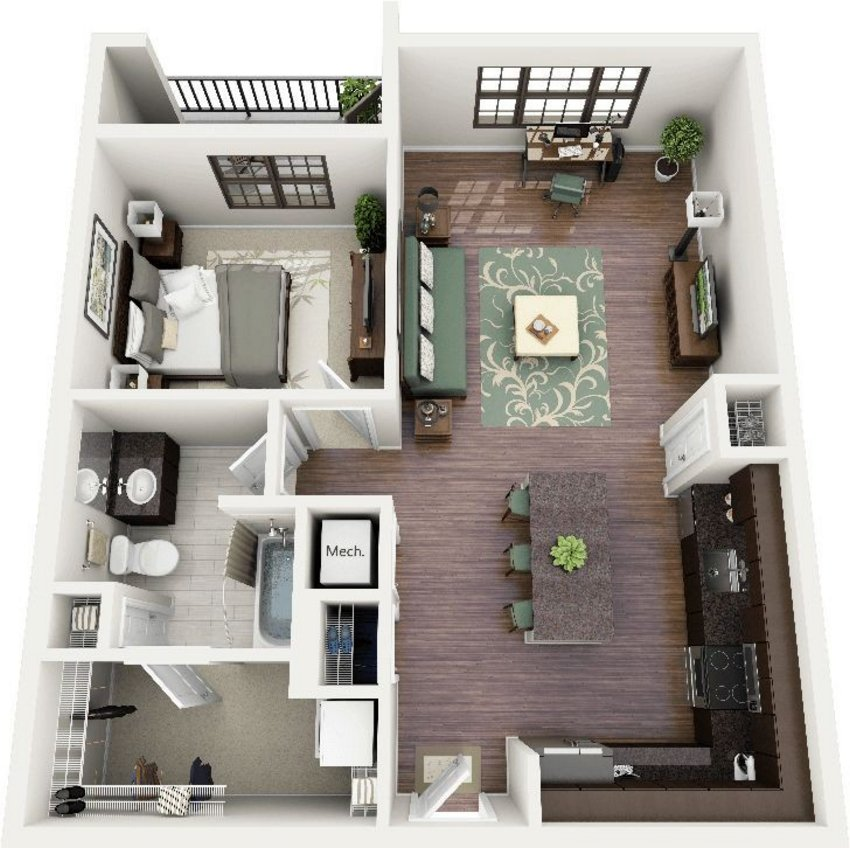 3D Floor Plan On Architectural 3