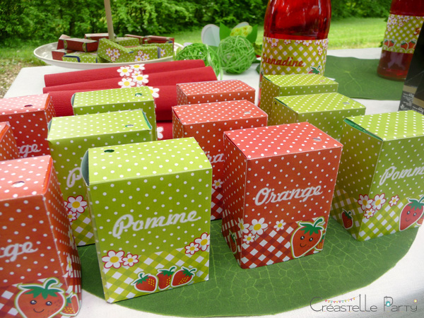 CreastelleParty - Fraise Kawaii - briquette de jus / Kawaii Strawberry - juice label