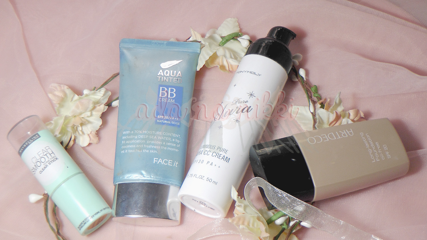 Maybelline's Clear Smooth Shine-Free BB Stick, The Face Shop's Aqua Tinted BB Cream and Tony Moly's Luminous Pure Aura CC Cream, ArtDeco Long-lasting oil-free foundation