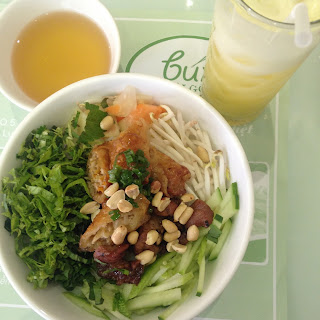 vietnam, otcb on tour, food, bun thit nuong cha goi, pork, spring rolls