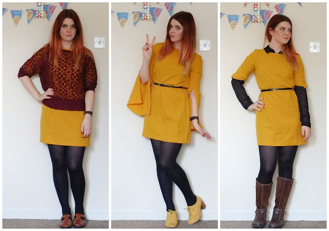 One mustard dress, styled 3 ways.