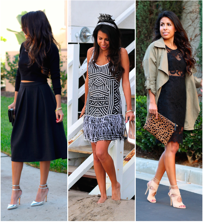 what to wear on Christmas, Holiday Style, Holiday Outfits, Pursuit of Shoes, Feather Dress, Lace LBD, Midi Skirt Style