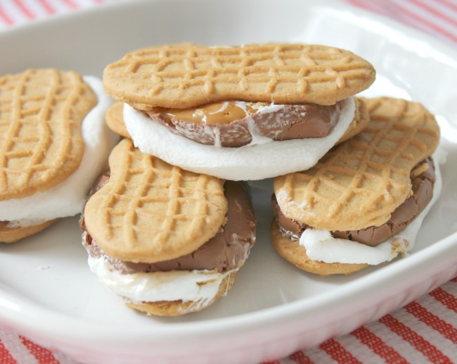 Lovely and delicious s'mores made with Milky Way candy bars and Nutter Butter Cookies