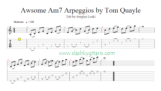 guitar lick, lick, Arpeggio, tom quayle, lydian lick,