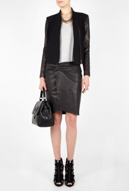 helmut Lang black leather pencil skirt