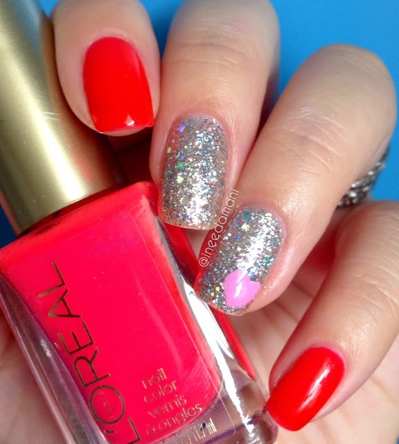 loreal punchy lychee neon summer glitter heart nails