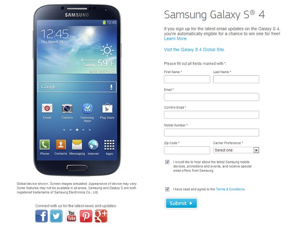 Just sign up to Win Samsung Galaxy S4