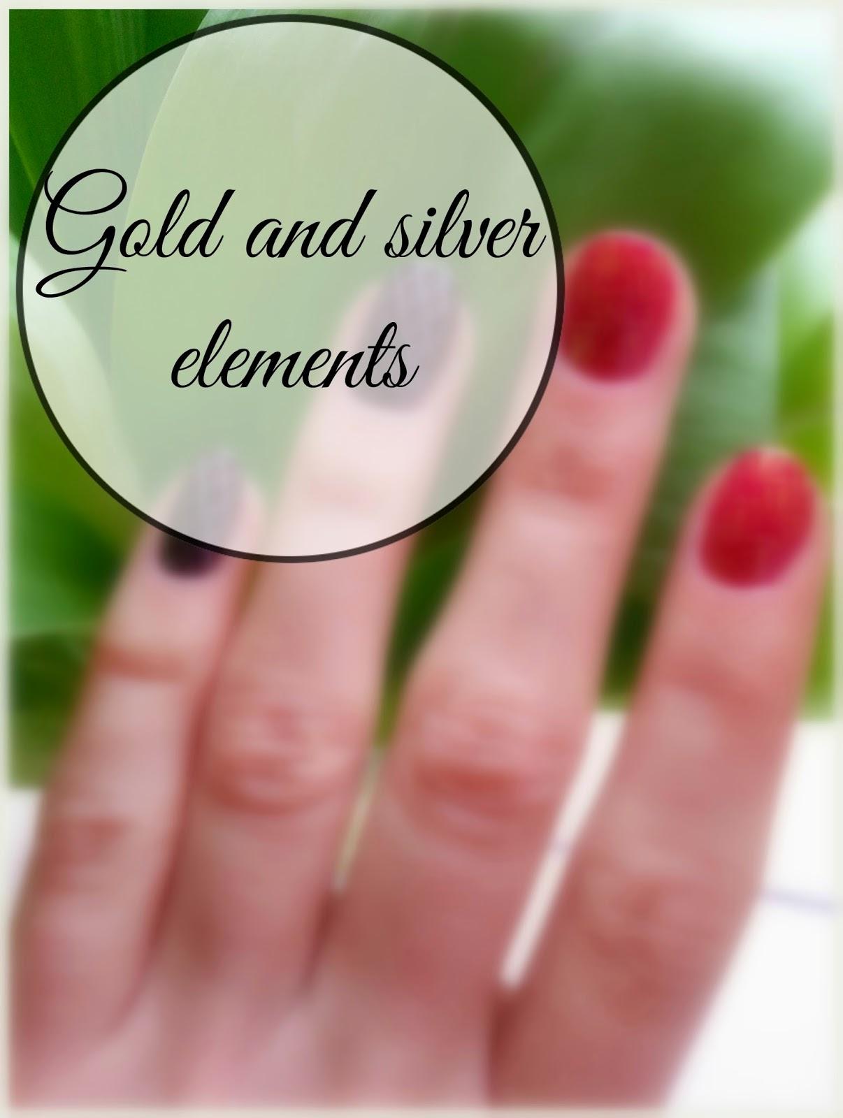 paznokcie ze złotem i srebrem