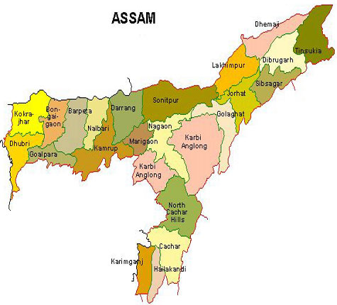 Assam map, assam districts map,asom map