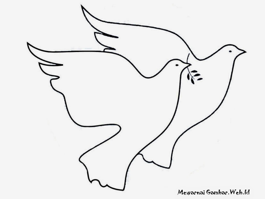 Gambar sepasang burung merpati untuk diwarnai