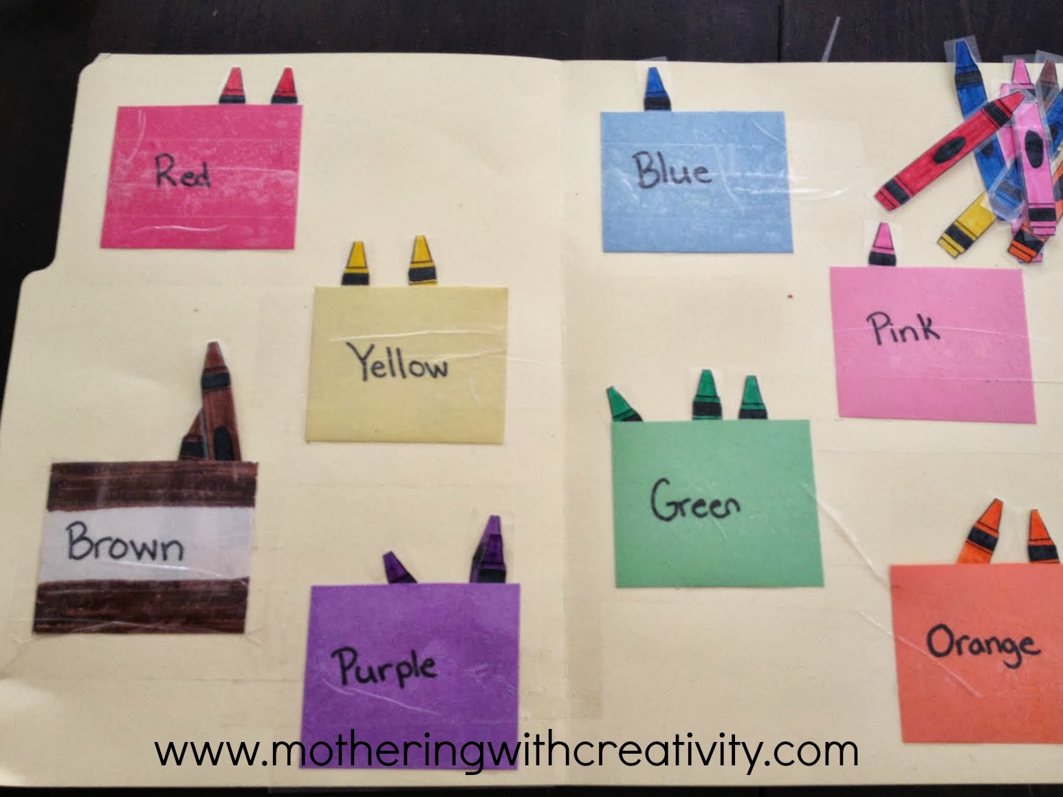 mothering with creativity crayon file folder game