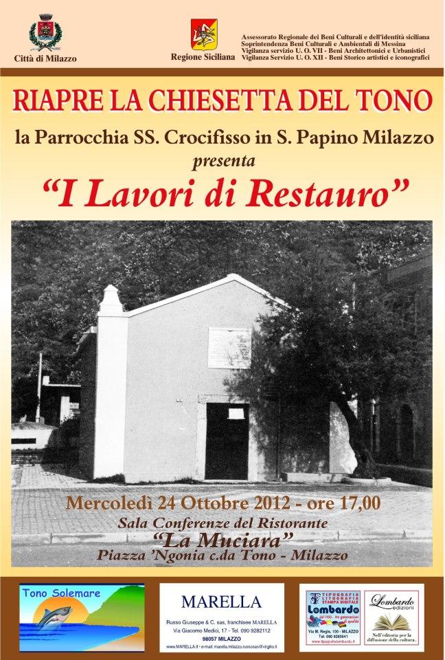 Aurora milazzo milazzo riaperta la chiesa del tono for Papino arredi catania
