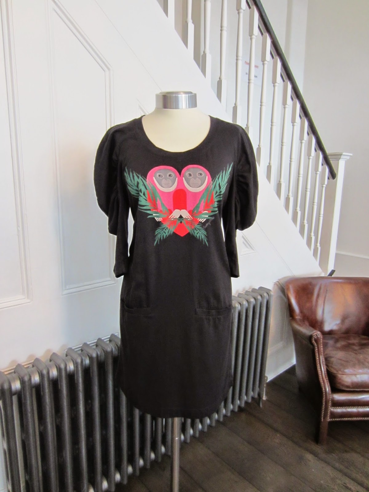 See By Chloé Black Jersey Tunic Dress with Monkey Motif