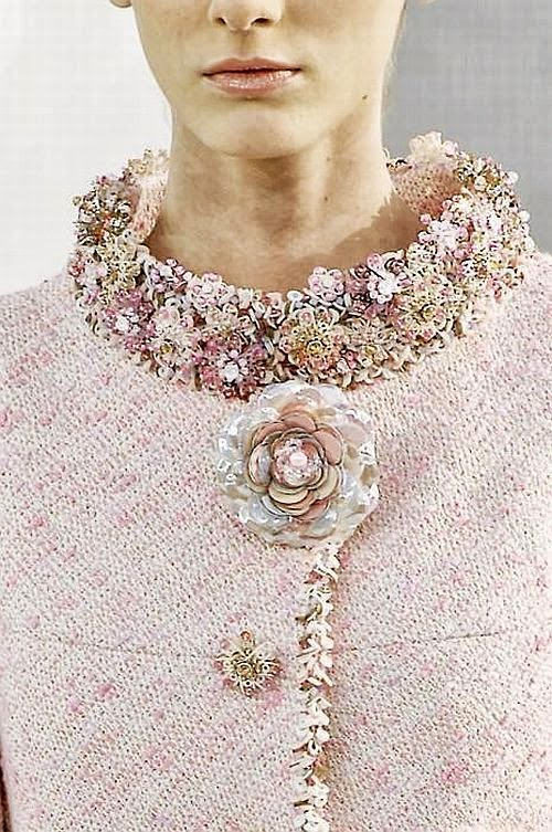 Chanel runway details: pale pink jacket with floral embellished collar