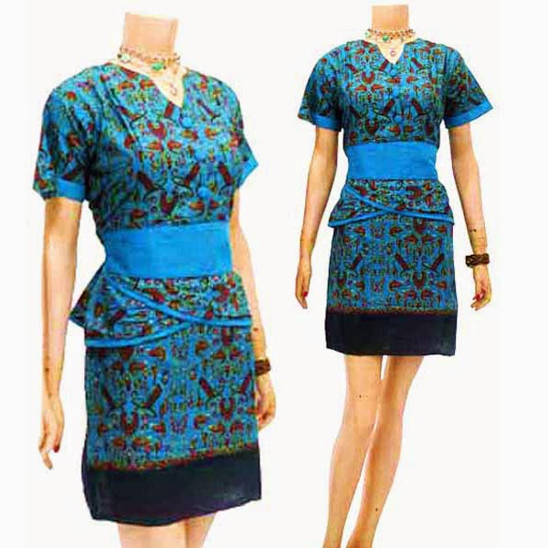 DB3774 Model Baju Dress Batik Modern Terbaru 2014
