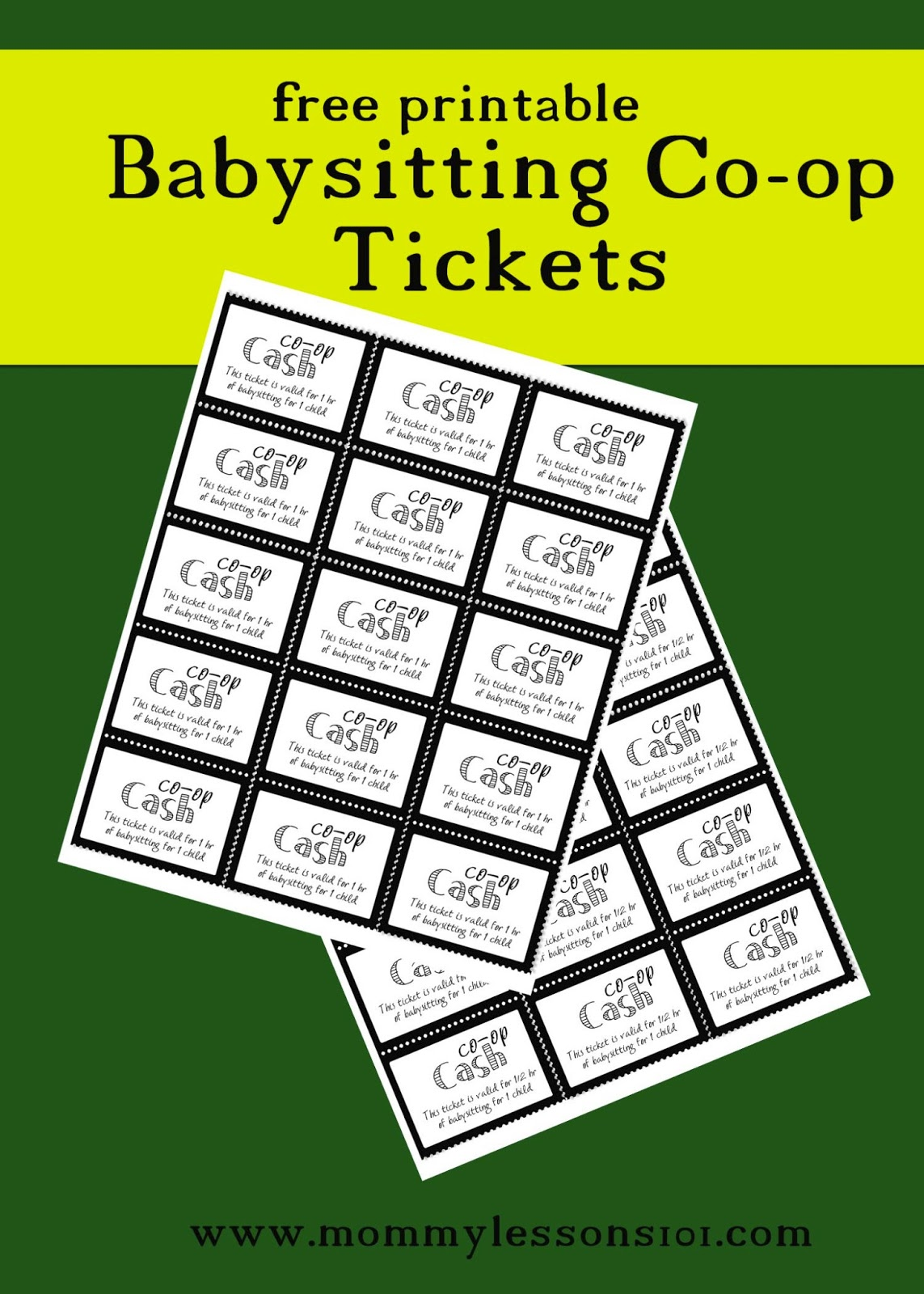 mommy lessons printables and tips for setting up a half hour babysitting tickets